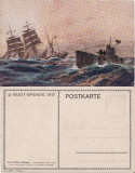 Carte postala-tema  militara,nave razboi, submarin(vapoare), Necirculata, Printata