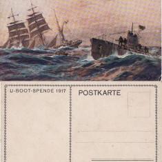Carte postala-tema militara, nave razboi, submarin(vapoare), Necirculata, Printata