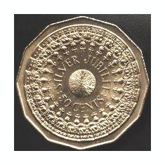Australia 50 CENTS 1977 12 laturi moneda mare 31, 5 mm Jubiliara SILVER JUBILEEa.UNC/UNC (1)