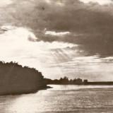 R3735 Apus de soare in Delta Dunarii CIRCULAT 1966