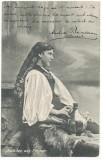 1911 Ilustrata Fata din Rasinari jud Sibiu port popular, Circulata, Printata