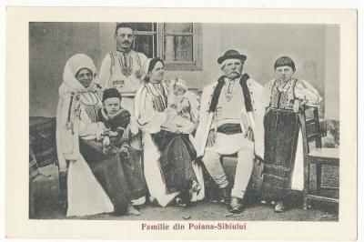 CFL 1925 ROMANIA Ilustrata port popular familie Poiana Sibiului judetul Sibiu foto