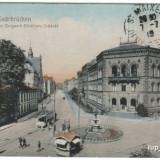 Ilustrata Saarbrucken 1920, color , tramvai