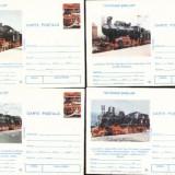 Locomotive, set de 4 carti postale necirculate
