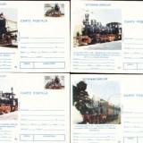 Set de 4 carti postale necirculate, locomotive