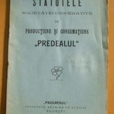 Statutele Societatii PREDEALUL, Ploesti 1911 - Carte Editie princeps