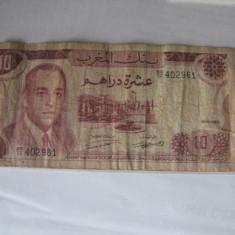 + Bancnota circulata Maroc 10 dirhams 1970 +
