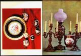 Lot 2 bucati  ilustrate postale obiecte portelan pictat+serviciu cafea Viena MNI Cj