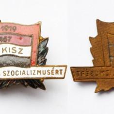 INSIGNA COMUNISTA UNGARIA KISZ 1957 - RARA **, Europa
