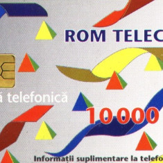 Cartela telefonica Romtelecom, 10000 lei, cip Gem2-2, 1995