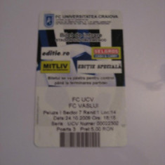 + Bilet peluza 24.10.2009 meci U Craiova - FC Vaslui + - Bilet meci