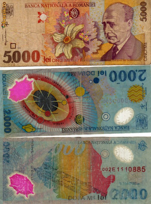 bancnote vechi (2000 lei eclipsa; 5000 lei din 1998) foto mare