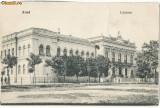 CFL 1908 ilustrata originala Arad - Liceul, proba de tipografie