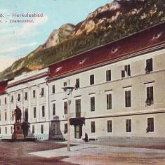 Romania, Baile Herculane, carte postala circulata 1917: Casa Tereza, statuie, anim - Carte Postala Banat 1904-1918, Fotografie