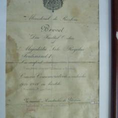 BREVET CRUCEA COMEMORATIVA A RAZBOIULUI 1916 - 1918 CU BARETE (viorel)