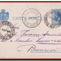Romania 1895 - Carte postala Spic de grau, stampila AMB No 2 Burdujeni Bucuresti