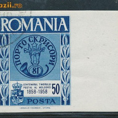 RFL Exil Romania 1958 timbru nedantelat stampilat margine de coala Centenar cap de bour - Timbre Romania
