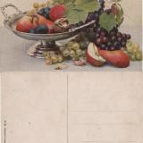 Ilustrata natura moarta, struguri, pere-pictura - Carte postala tematica