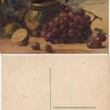 Ilustrata natura moarta, struguri-pictura - Carte postala tematica