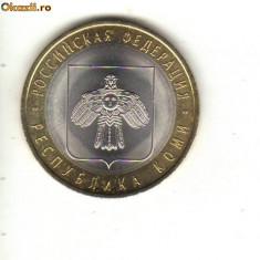 Bnk mnd rusia 10 ruble 2009 unc, komi, bimetal