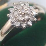Inel aur diamante naturale motiv floral