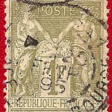 1876 FRANTA alegorie Pacea si Comertul Sage tip II 1 Fr., Stampilat