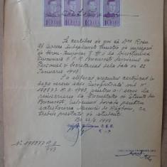 Certificat, Caile Ferate Romane, 1943 - Hartie cu Antet