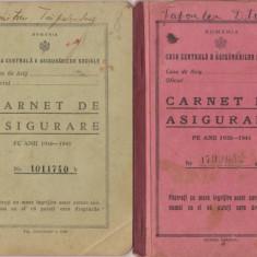 3 Carnete de Asigurare pe anii 1938 -1946, timbrate - Pasaport/Document