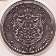 5 lei 1881 domn - argint Romania - Moneda Romania