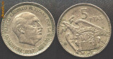 Spania 5 PESETAS 1957 generalul Franco