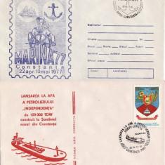 Set 2 plicuri vapoare -vasul Independenta, bricul Mircea - Plic Papetarie