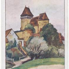 CFL 1925 ROMANIA ilustrata biserica fortificata saseasca Ighisul Nou Sibiu