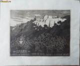 Gravura Cetatea Sucevei , semnata Mariana Hancu , exemplarul  1 / 10, Istorice, Cerneala, Realism