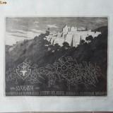 Gravura Suceava, Cetatea de Scaun, semnata, exemplarul 1/10 - Pictor strain
