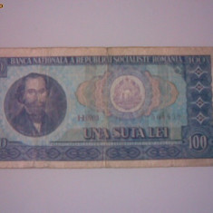 + Bancnota circulata 100 lei 1966 + - Bancnota romaneasca
