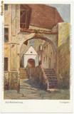 1900 ilustrata Sighisoara pictura Turmgasse de Betty Schuller