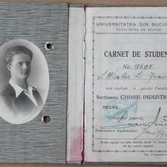 Facultatea de Stiinte, Chimie Industriala, carnet de student, 1933 - Hartie cu Antet