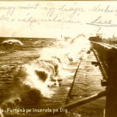 Constanta - Furtuna pe Dig - 1930 - circulata - Carte Postala Dobrogea dupa 1918