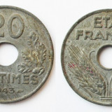 FRANTA 20 CENTIMES 1943 Zn XF **, Europa