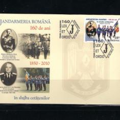 ROMANIA-2010 JANDARMERIA ROMANA 160 ANI- FDC - LP 1860 - Timbru Romania dupa 1900, Nestampilat