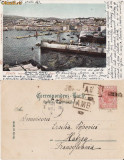 Trieste (Italia) -Portul, vapoare, stampila ambulanta, Circulata, Printata