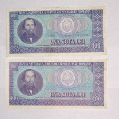 100 LEI 1966 - 2 buc SERIE CONSECUTIVA #2 Vf spre ExF