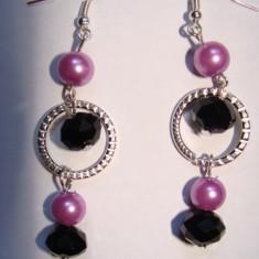 Cercei cu perle de sticla si cristale - Cercei perla