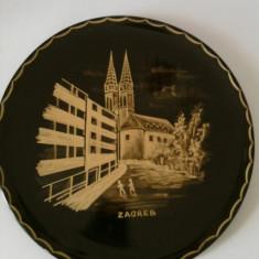 farfurie DECO lemn - suvenir ZAGREB