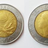 ITALIA 500 LIRE 1998 BIMETAL JUBILIAR FAO XF **