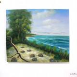 Tablou ulei pe panza 60x50cm - Peisaj marin - Pictor roman, Marine, Realism