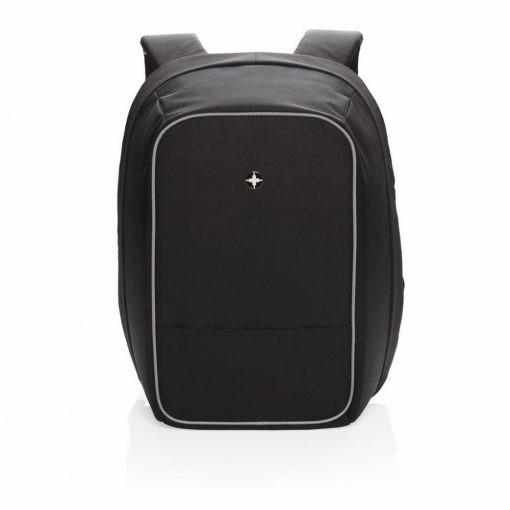 Rucsac antifurt laptop 15.6 inch, Swiss Peak by AleXer, AT, poliester, nylon, negru, breloc inclus din piele ecologica si metal