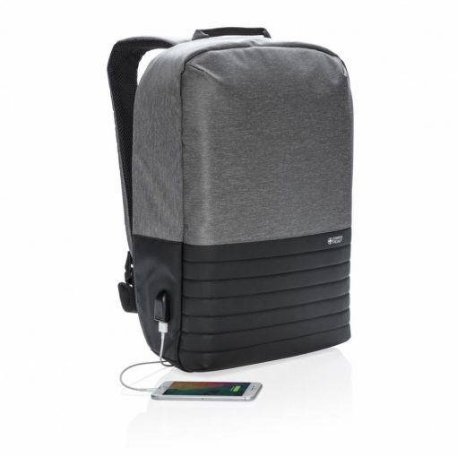 Rucsac antifurt laptop 15 inch, RFID, Swiss Peak by AleXer, RD, poliester, gri, breloc inclus din piele ecologica si metal