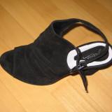 Sandale dama piele intoarsa, Negru, Marime: 40