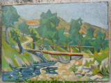 Peisaj cu pod pictura veche in ulei pe panza
